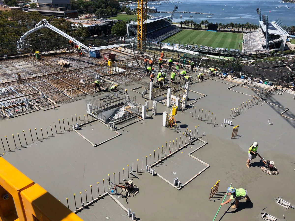 Concrete pumping at Icon site Gosford